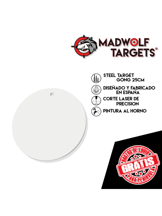 cible metallique Steel Target Blanco de tiro metalico GONG 25cm