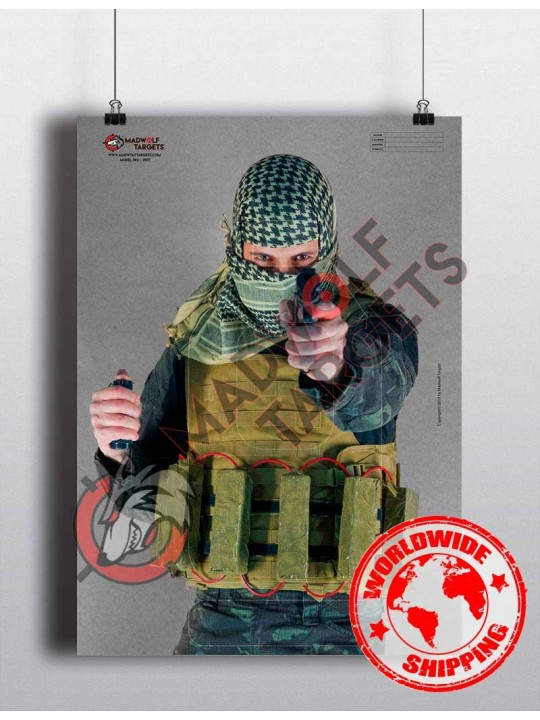 Silueta de tiro Terrorista insurgente yihadista - inmolarse entrenamiento tiro militar policial cinturon explosivos