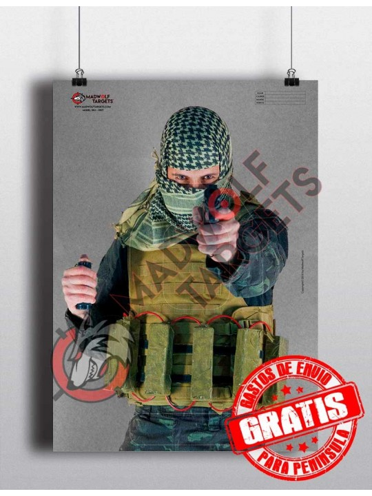 Daesh antiterrorist police shooting target - suicide - inmolation - paper target military training