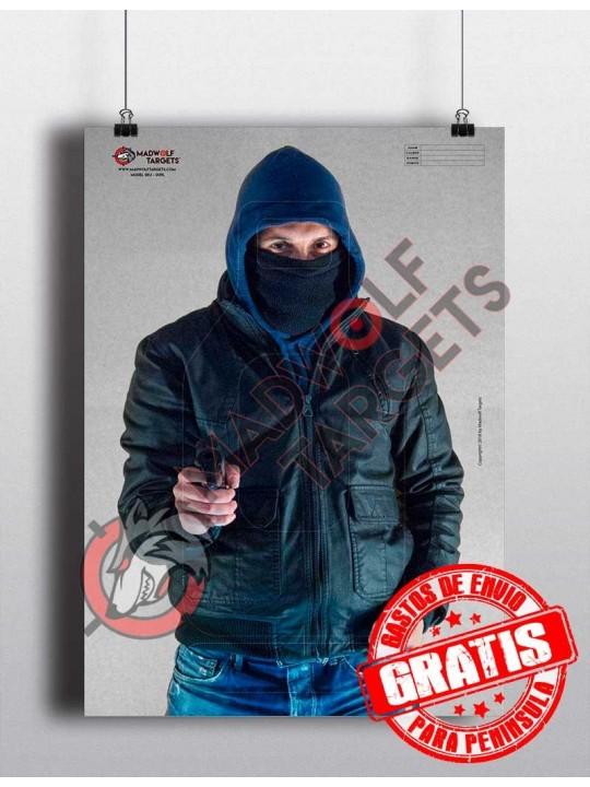 Blanco de tiro Ladron atracador con arma de fuego - madwolf  iberian targets - entrenamiento tiro policial