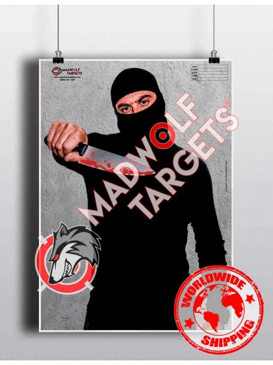 Blanco de tiro Terrorista yihadista ISIS con cuchillo - entrenamiento tiro policial