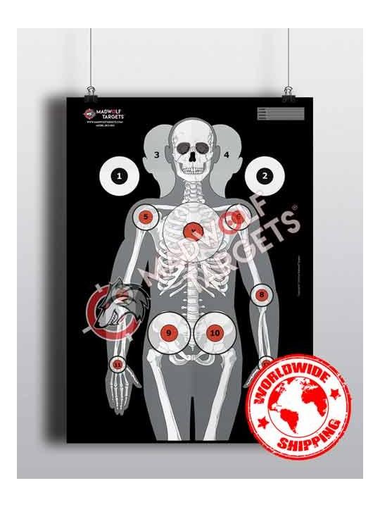 blanco de tiro de papel esqueleto humano